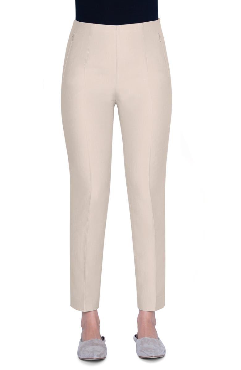 AKRIS Conny Cotton & Silk Blend Ankle Pants, Main, color, CLAY