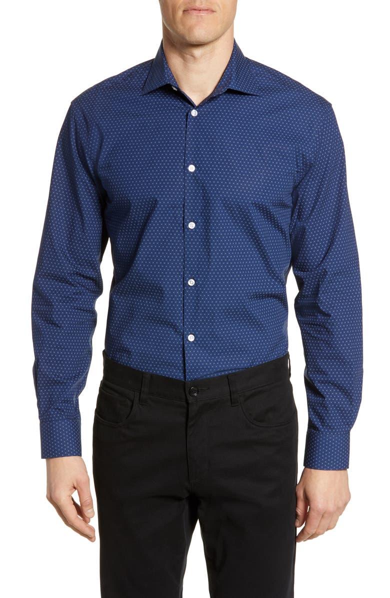 JOHN VARVATOS STAR USA Slim Fit Geometric Dress Shirt, Main, color, NAVY