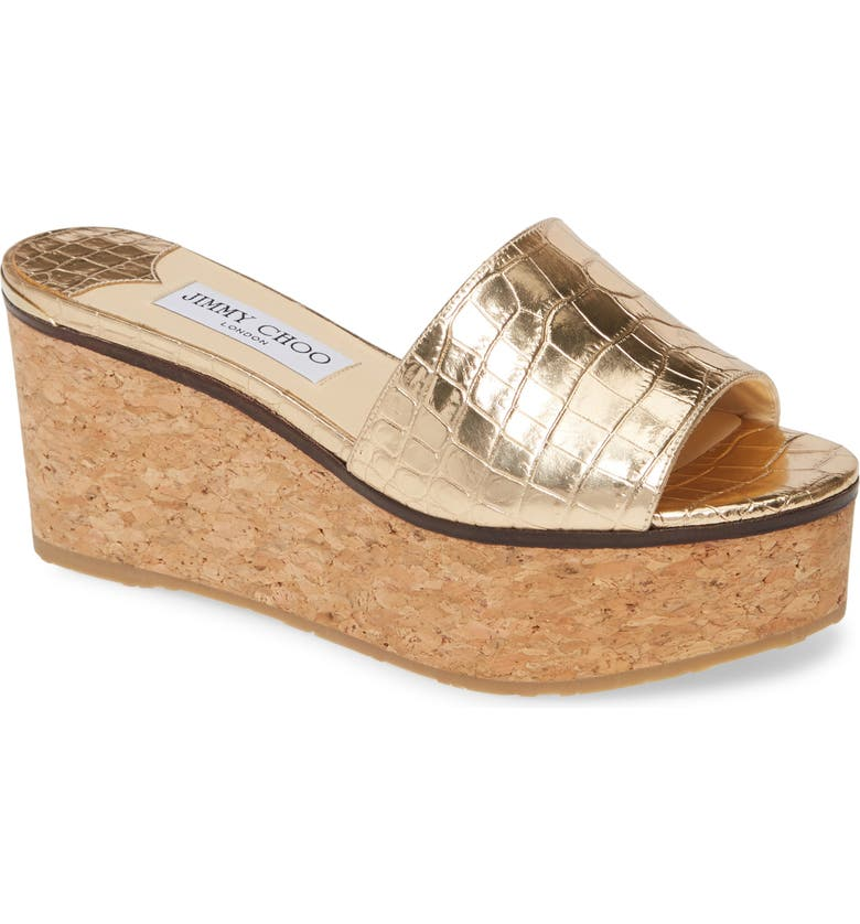 JIMMY CHOO DeeDee Platform Wedge Slide Sandal, Main, color, LIGHT GOLD