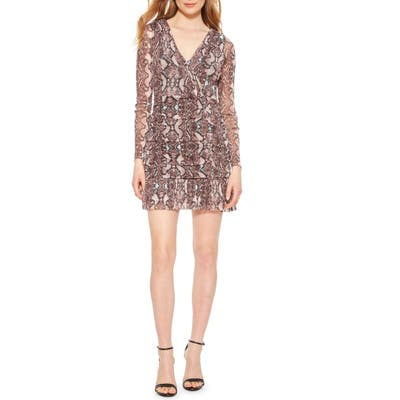 Parker Tina Ruched Long Sleeve Minidress, Purple