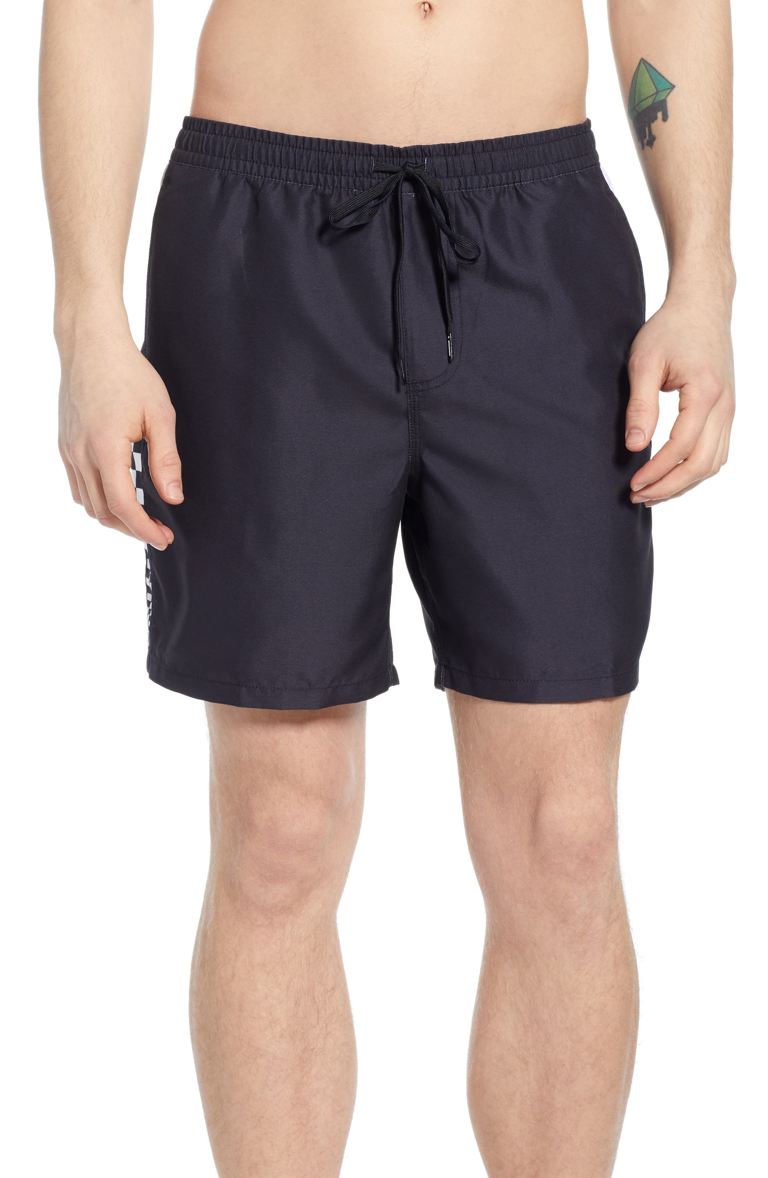 V Panel Volley Shorts, Main, color, BLACK
