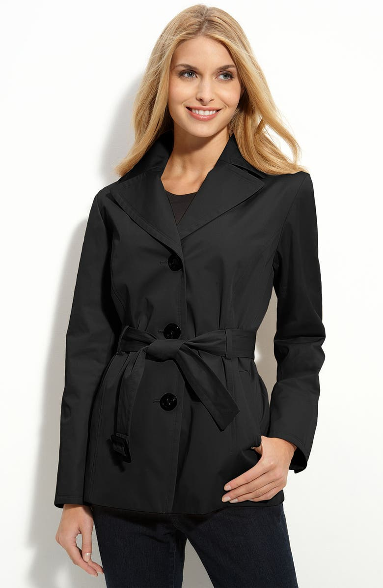 ELLEN TRACY Hooded Short Trench, Main, color, 001