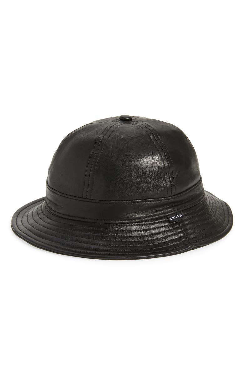 BRIXTON Banks II Faux Leather Bucket Hat, Main, color, BLACK LEATHER