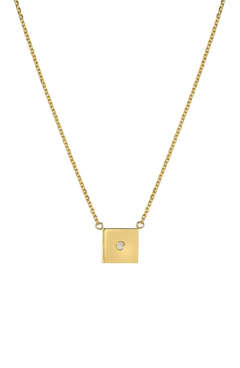 MINI MINI JEWELS Forever Collection - Square Diamond Pendant Necklace, Main, color, YELLOW GOLD