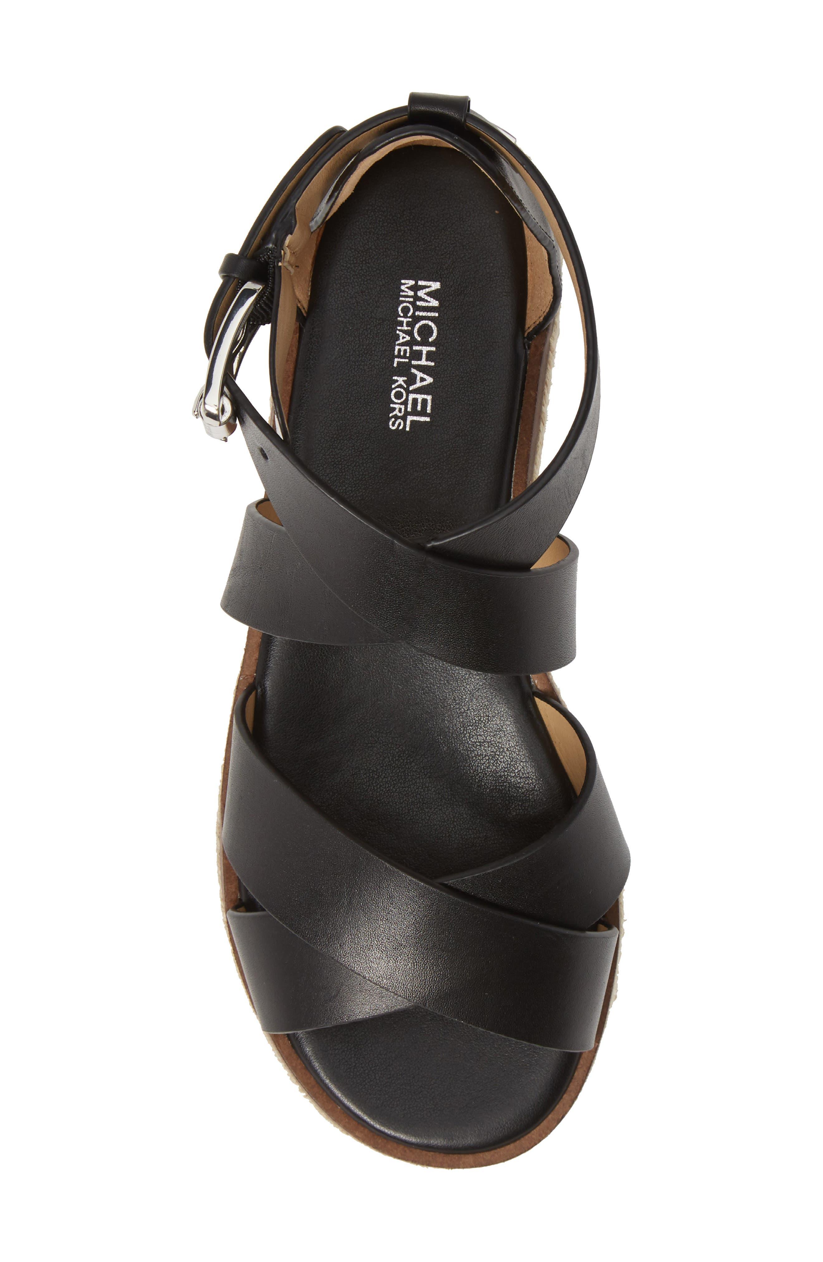 ,                             'Darby' Crisscross Espadrille Sandal,                             Alternate thumbnail 5, color,                             BLACK VACHETTA LEATHER