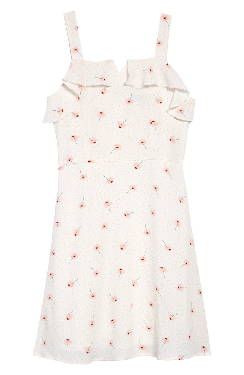 TRIXXI Floral Chiffon Dress, Main, color, WHITE