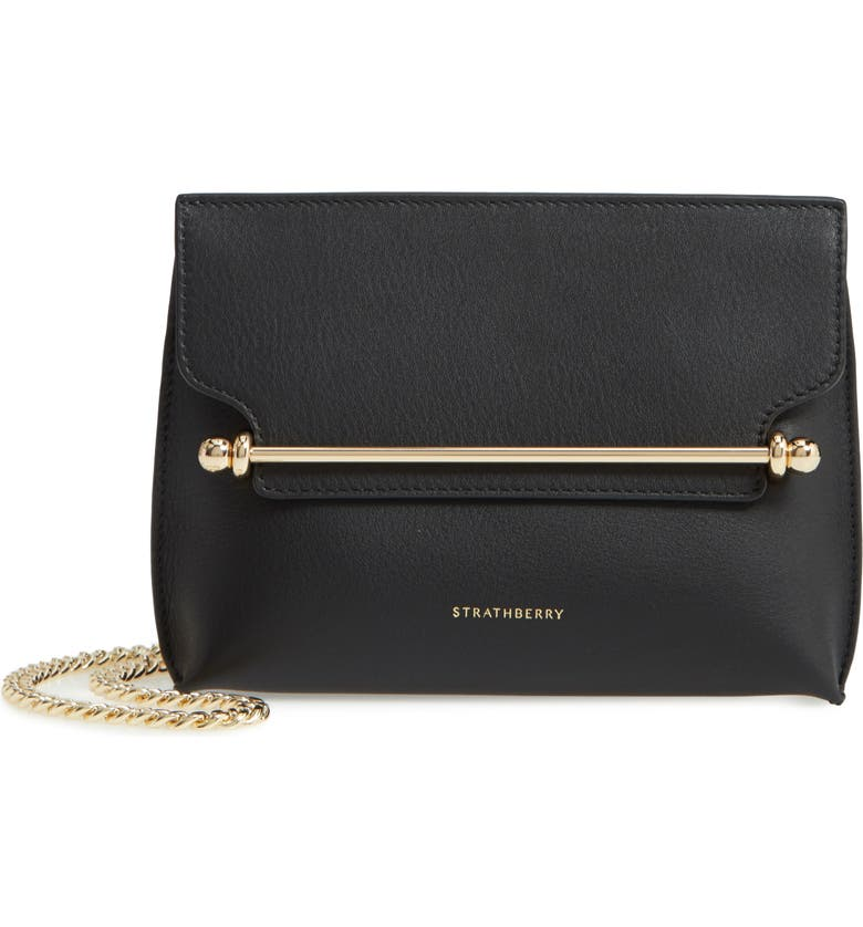 STRATHBERRY Mini Stylist Calfskin Leather Convertible Clutch, Main, color, 001