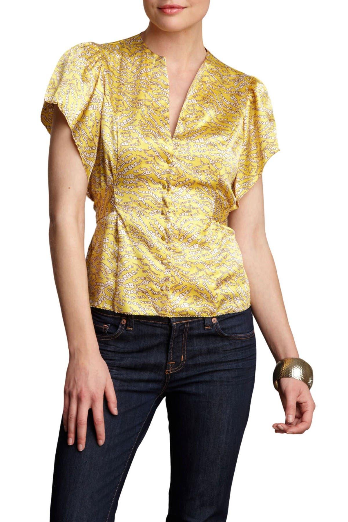 1930s Blouses, Tops, Shirt Styles | History Vertigo Printed Flutter Sleeve Satin Blouse - Ribbon Floral at Nordstrom Rack $19.97 AT vintagedancer.com