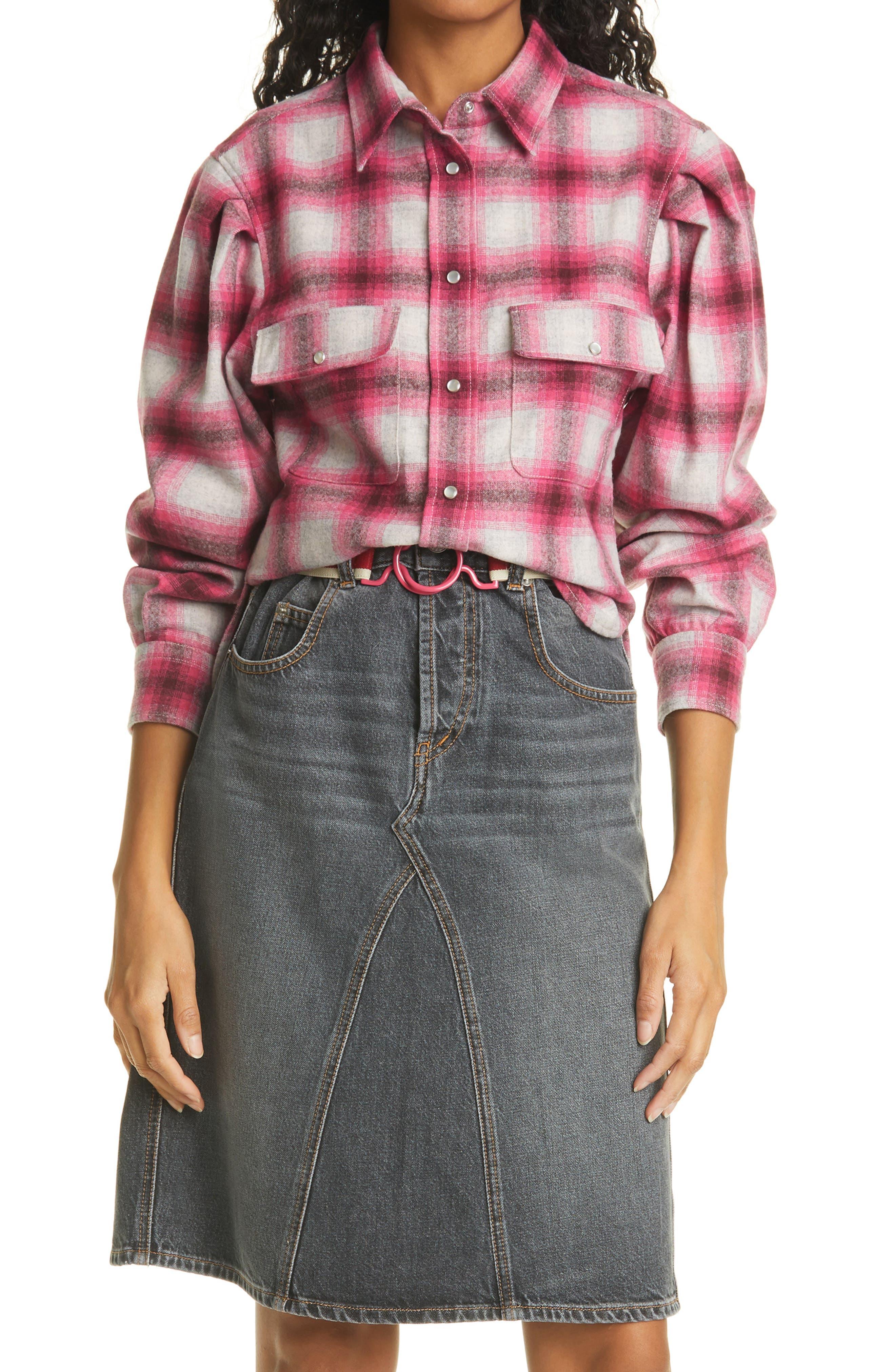 Women's Isabel Marant Etoile Reosi Check Wool Blend Button-Up Shirt