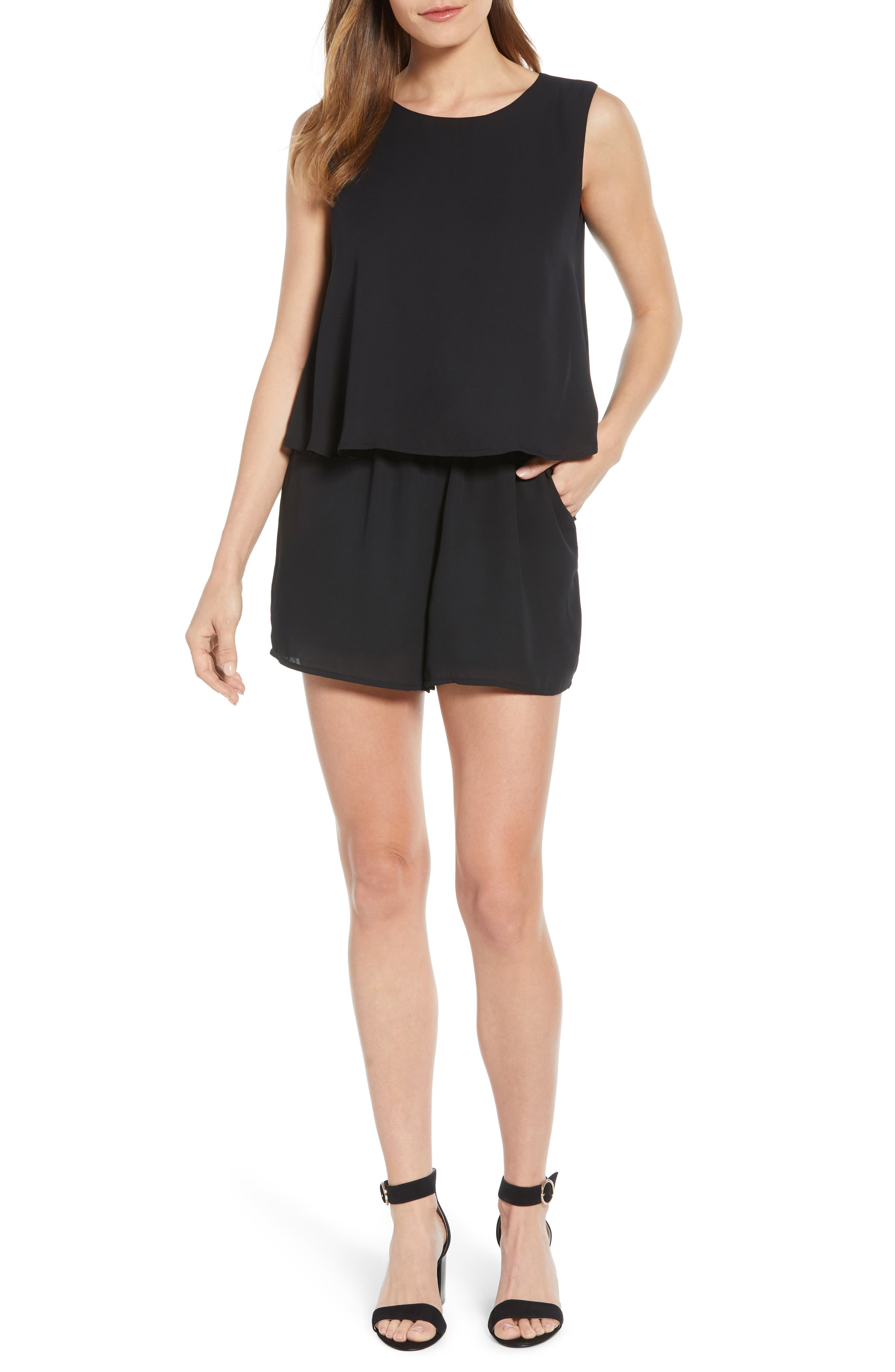 x Living in Yellow Dahlia Sleeveless Layered Romper, Main, color, BLACK