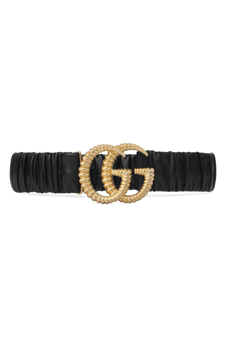 GUCCI Double-G Buckle Stretch Leather Belt, Main, color, NERO