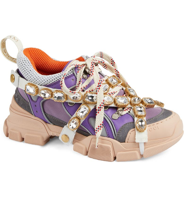 GUCCI Flashtrek Jewel Embellished Sneaker, Main, color, LAVENDER/ BLUE