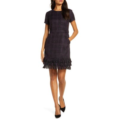 Forest Lily Tiered Fringe Boucle Sheath Dress, Black