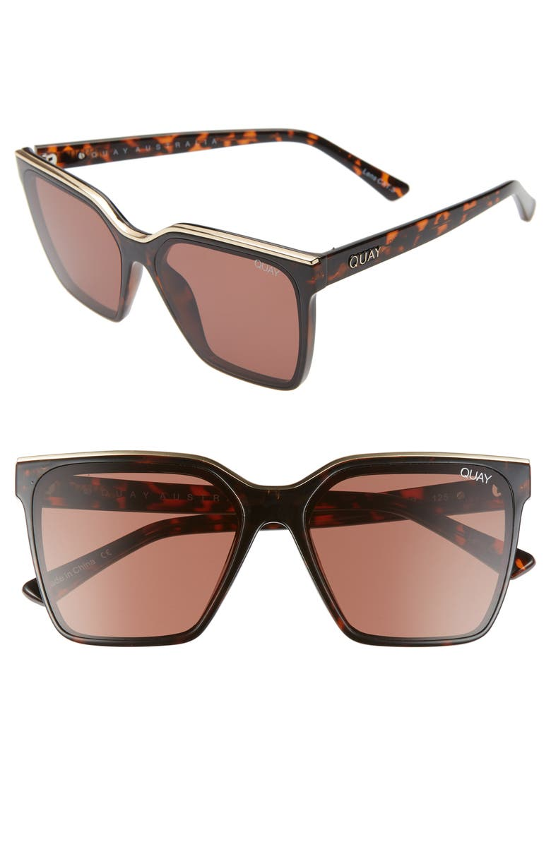 QUAY AUSTRALIA x Lizzo Level Up 55mm Sunglasses, Main, color, TORTOISE GOLD/ BROWN