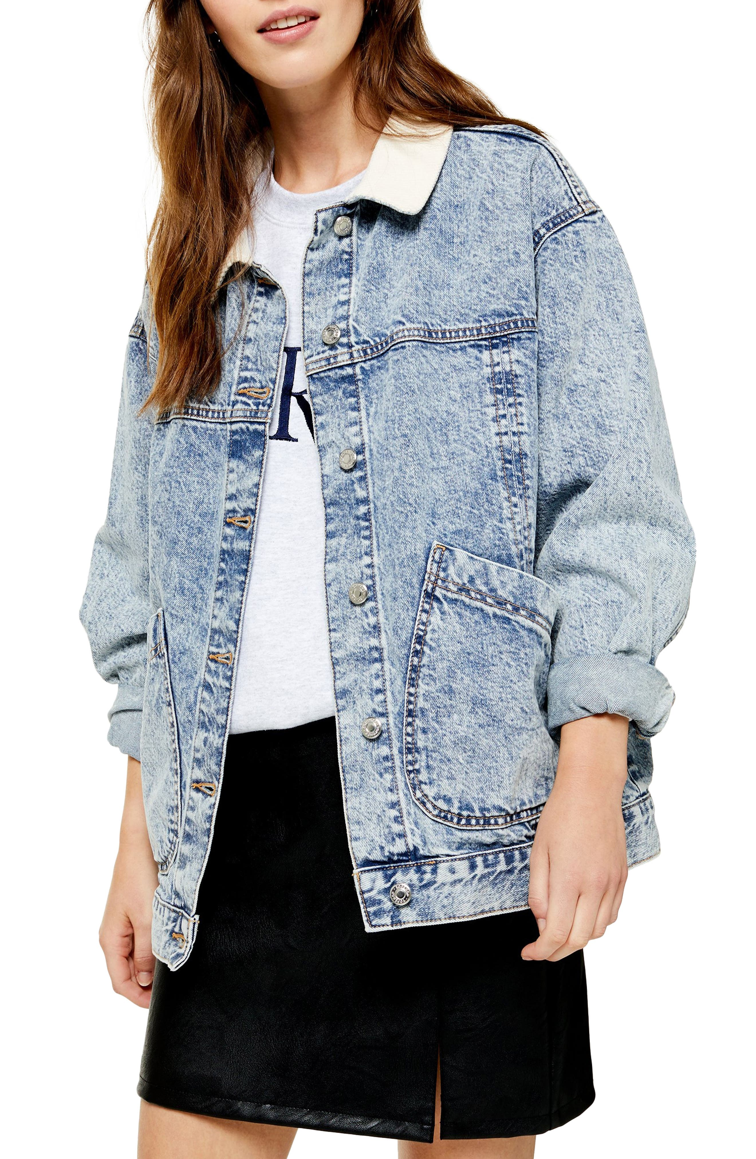 Topshop Cord Collar Patch Denim Jacket