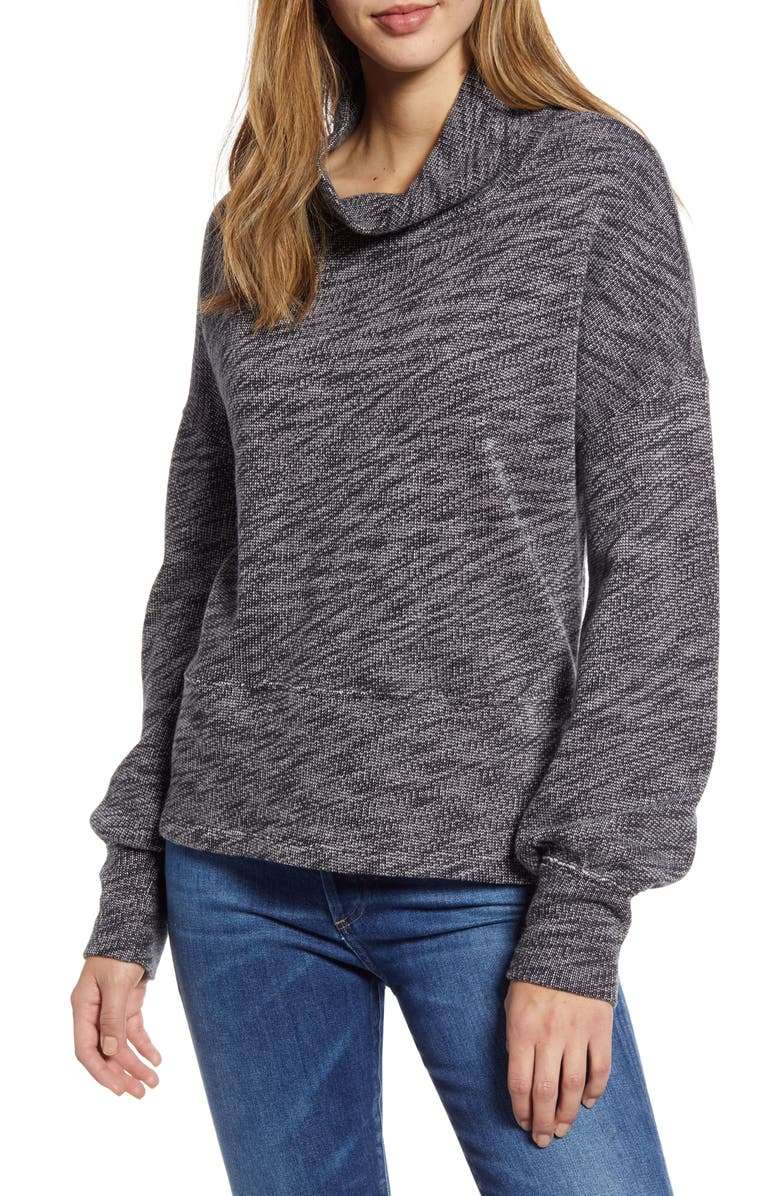 CASLON<SUP>®</SUP> Terry Pullover, Main, color, BLACK- IVORY MARL