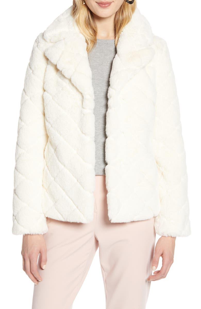 HALOGEN<SUP>®</SUP> Textured Faux Fur Jacket, Main, color, IVORY