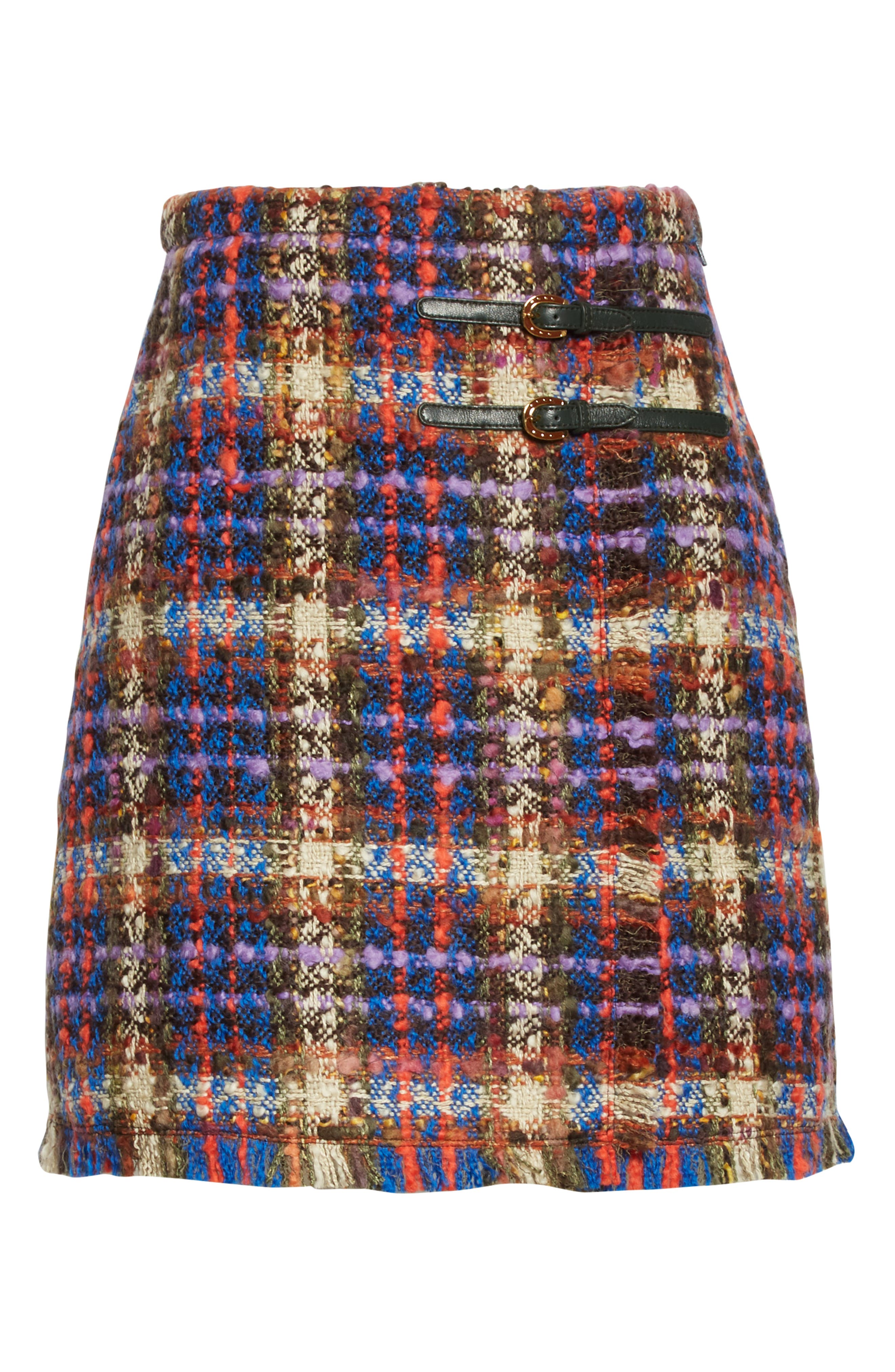 Gucci Skirts Belted Wool Blend Tweed Miniskirt