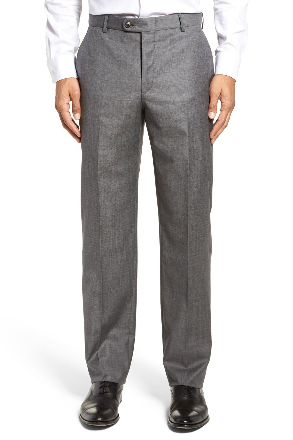 Image of Hickey Freeman Tasmanian Grey Sharkskin Flat Front Wool Suit Separates Trousers