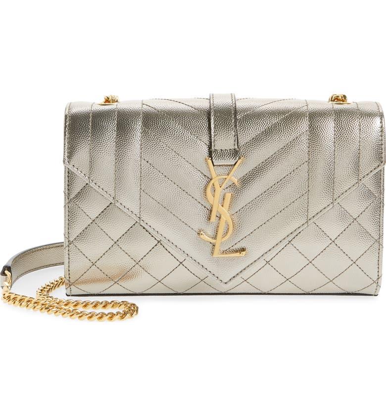 SAINT LAURENT Medium Monogramme Quilted Leather Shoulder Bag, Main, color, PIOMBO