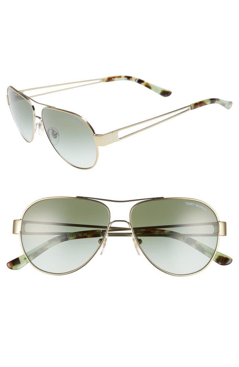 TORY BURCH 55mm Aviator Sunglasses, Main, color, 001