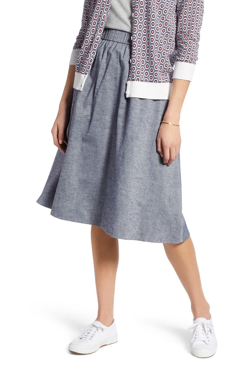 1901 Pull-On Chambray Skirt, Main, color, 420