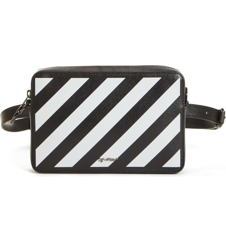 OFF-WHITE Diagonal Fanny Pack, Main, color, BLACK WHITE