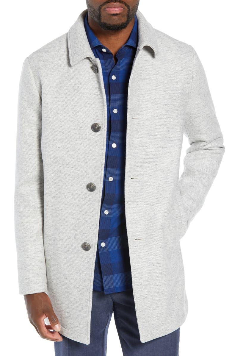 BONOBOS Slim Fit Water Repellent Wool Blend Car Coat, Main, color, TEXTURED LIGHT GREY
