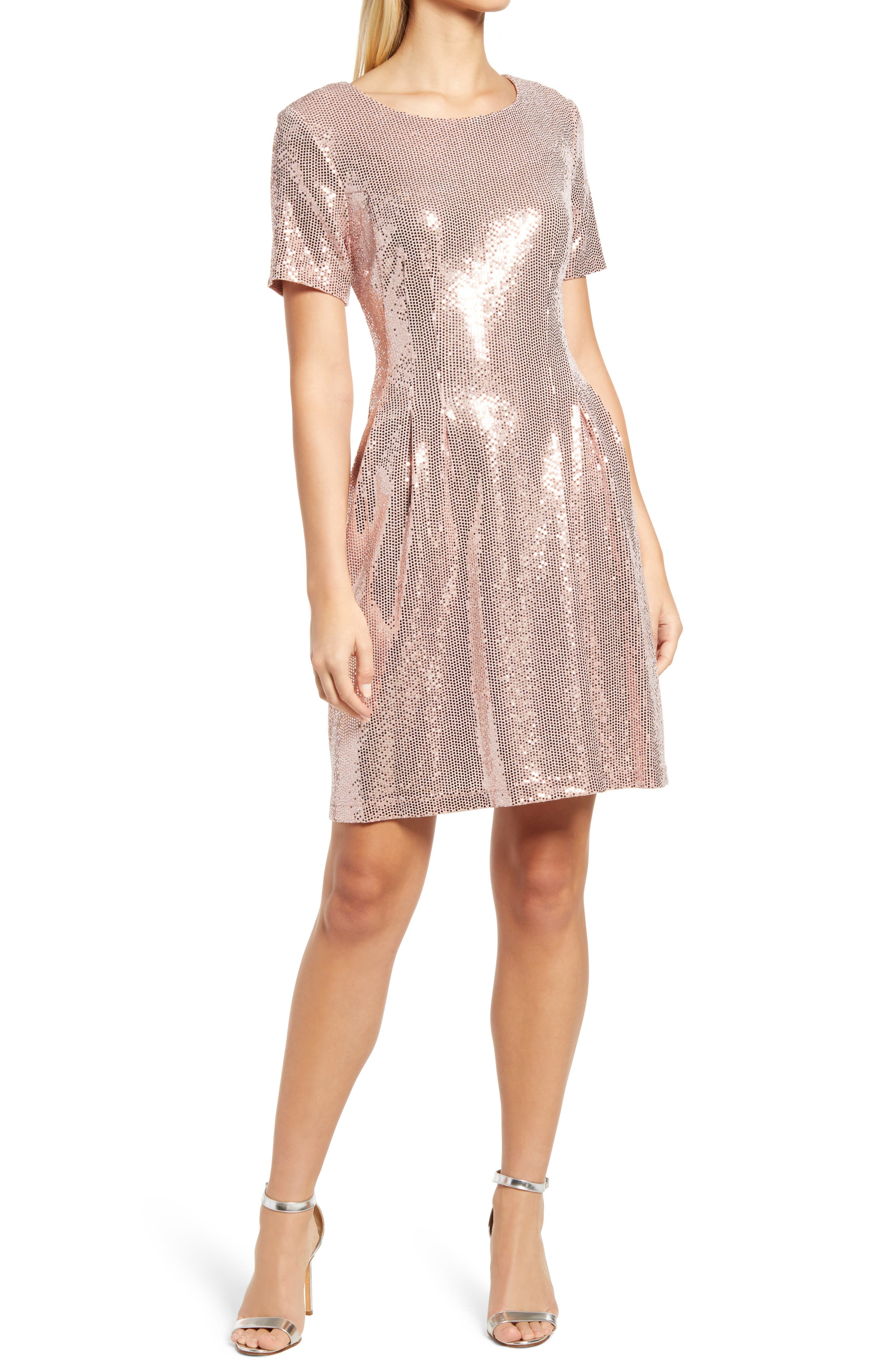 Kym Sequin Fit & Flare Cocktail Dress