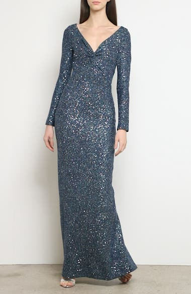 Long Sleeve Luxe Sequin Tuck Knit Gown, video thumbnail
