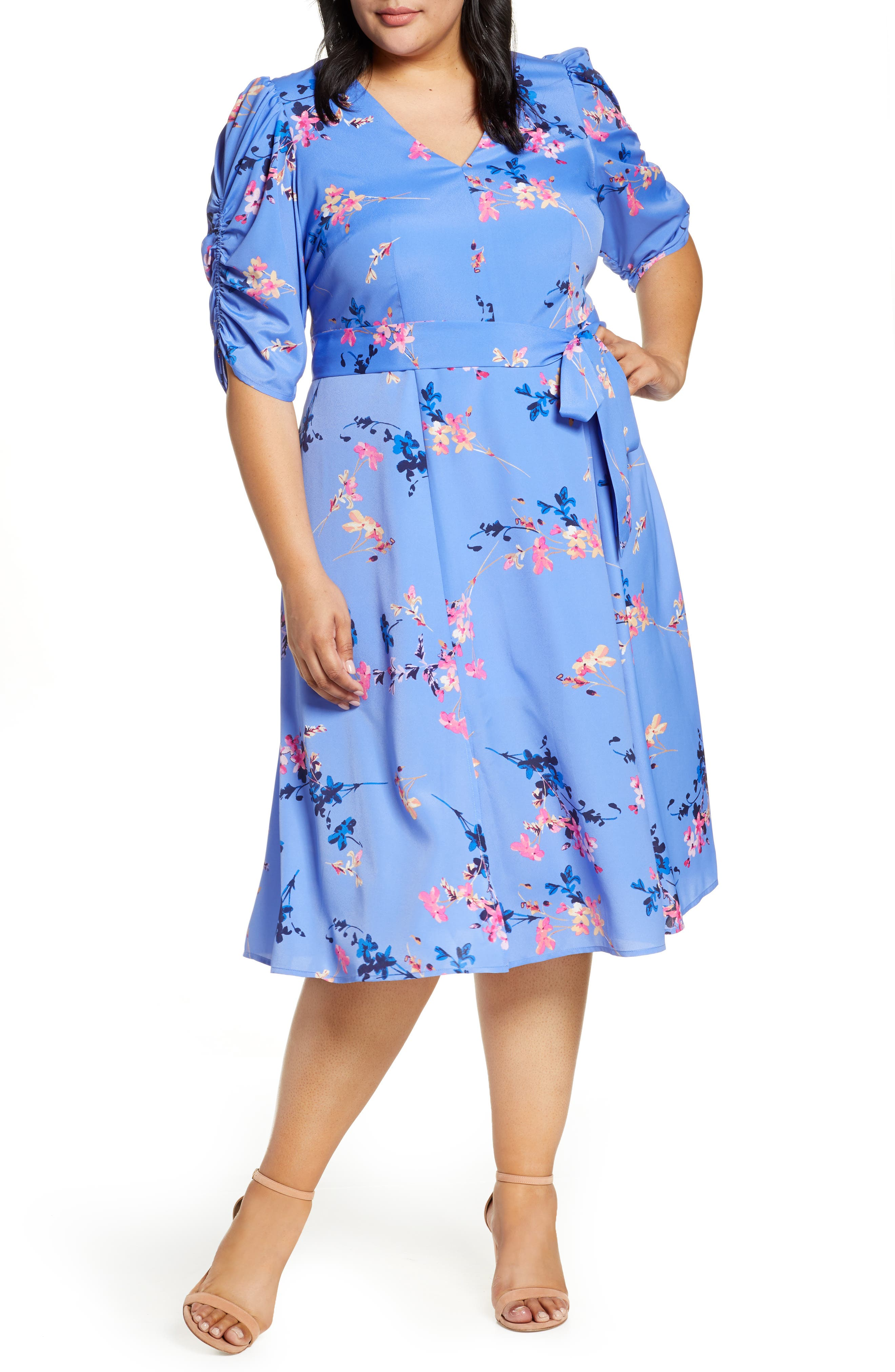 1940s Plus Size Fashion: Style Advice from 1940s to Today Plus Size Womens Eliza J Print Fit  Flare Dress Size 14W - Blue $168.00 AT vintagedancer.com
