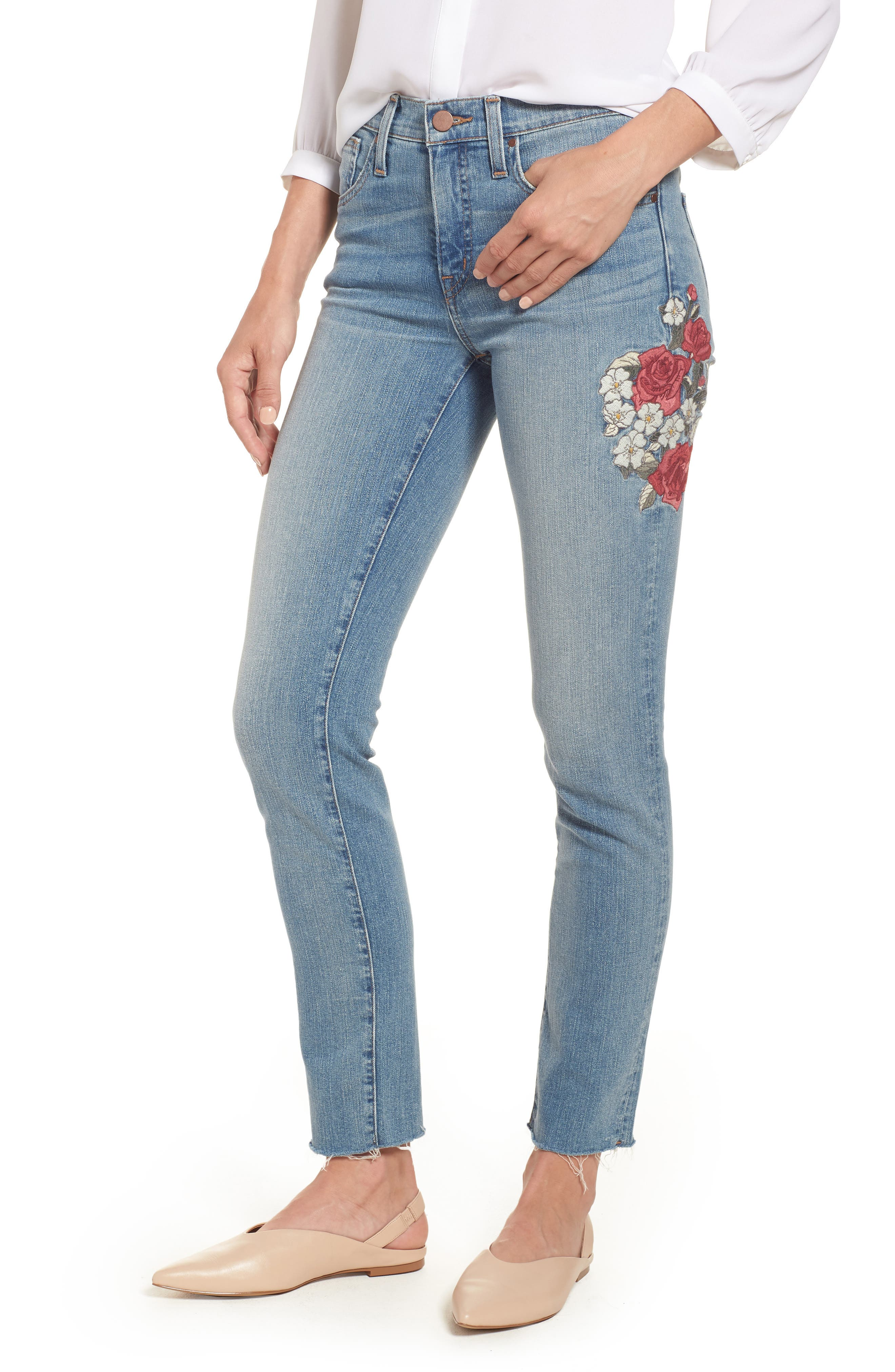 Sage High Waist Embroidered Slim Straight Leg Jeans, Main, color, 450
