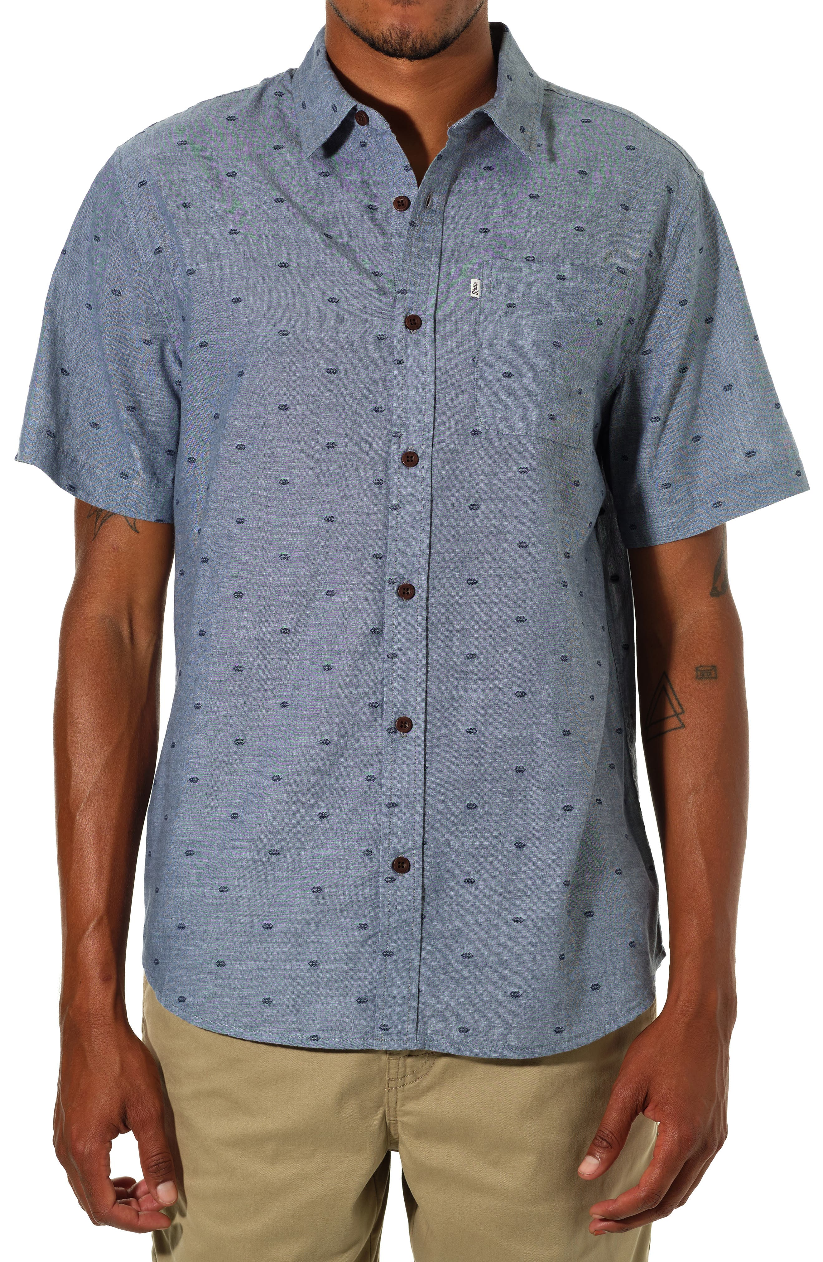 Twine Dobby Fil Coupe Short Sleeve Button-Up Shirt
