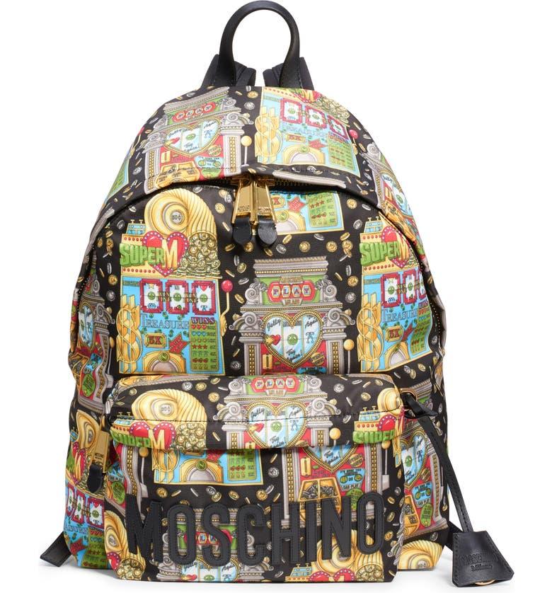 MOSCHINO Jackpot Logo Backpack, Main, color, BLACK MULTI