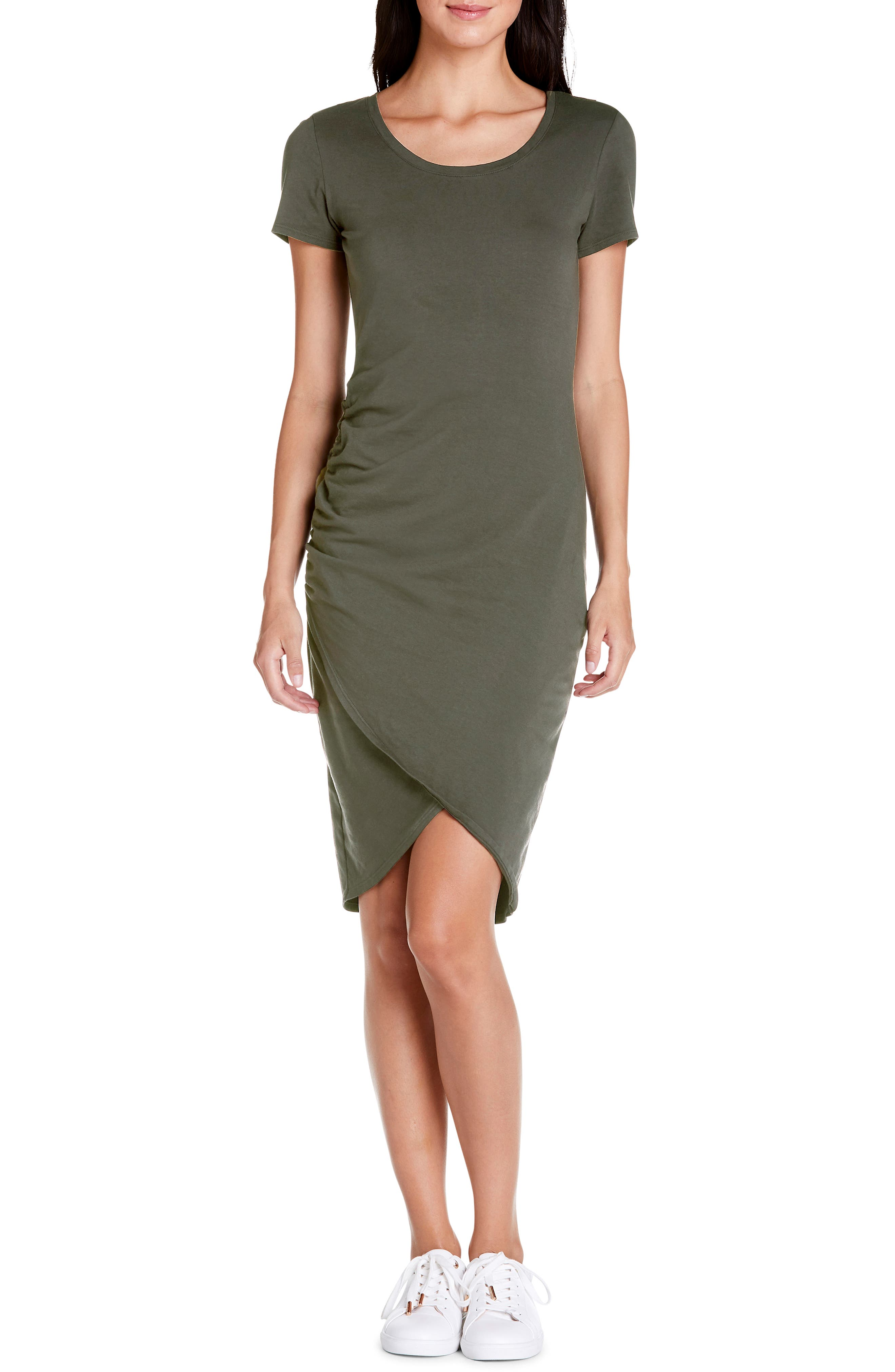 Michael Stars Kimber Tulip Skirt Knit Dress, Green