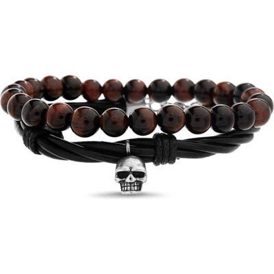 Steve Madden Skull Charm Duo Bracelet Set