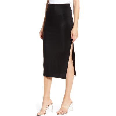 Plus Size Leith High Side Slit Pencil Skirt, Size - Black