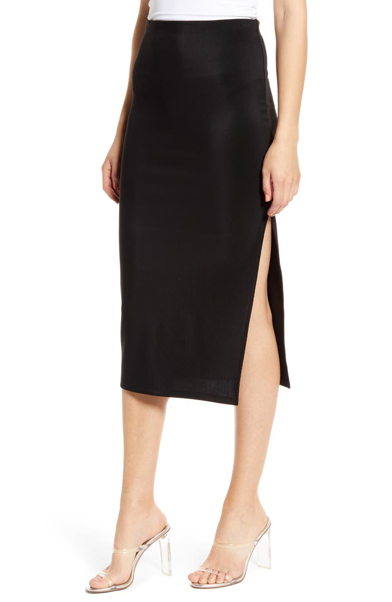 LEITH High Side Slit Pencil Skirt, Main, color, BLACK