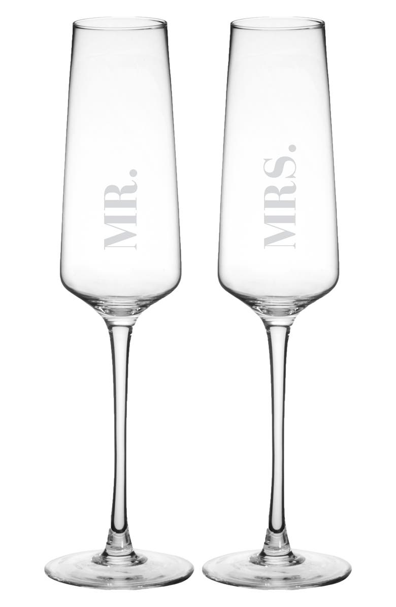 CATHY'S CONCEPTS Mr. & Mrs. Set of 2 Champagne Flutes, Main, color, CLEAR