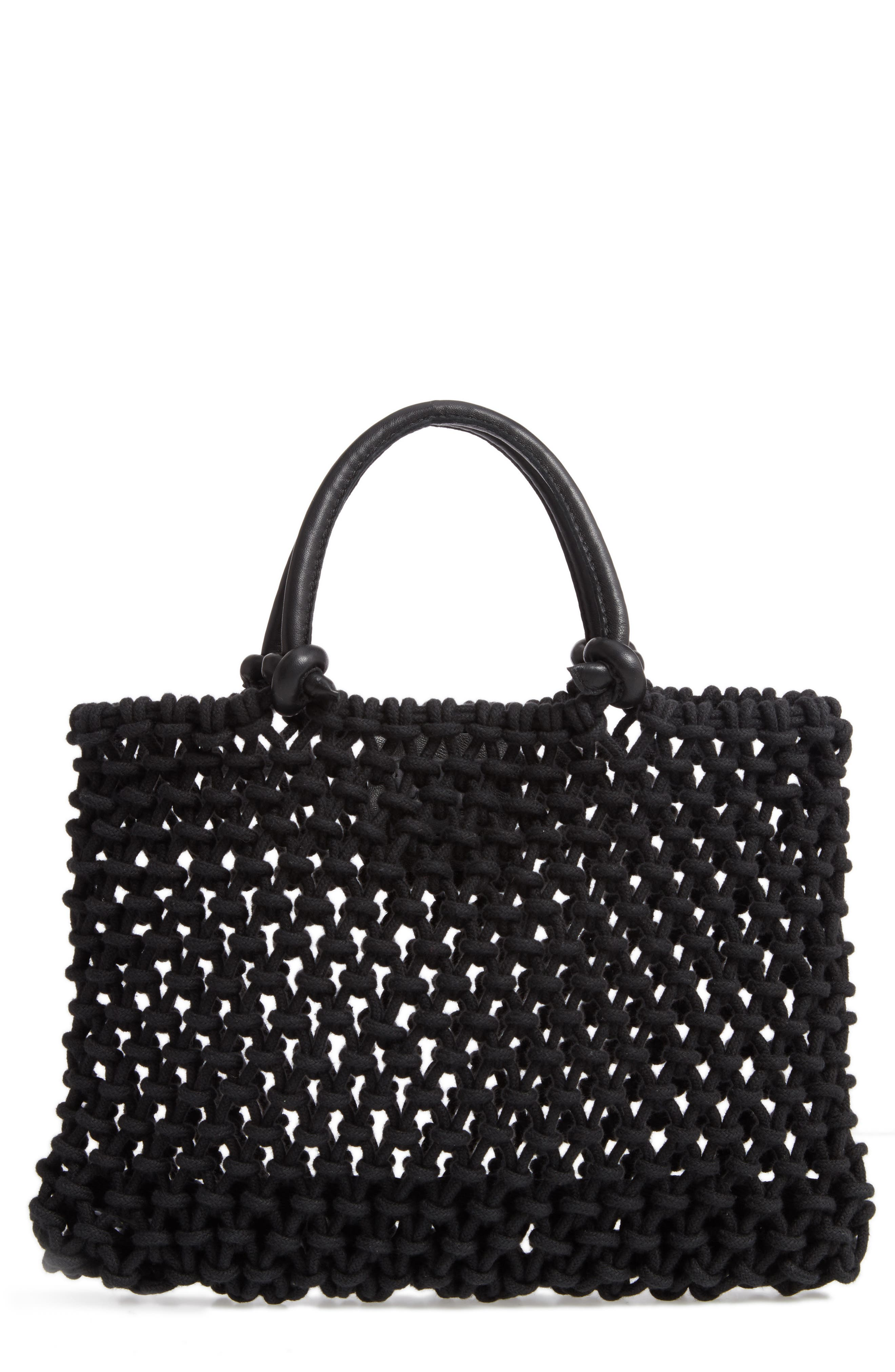 Petite Sandy Woven Net Handbag, Main, color, BLACK BLACK