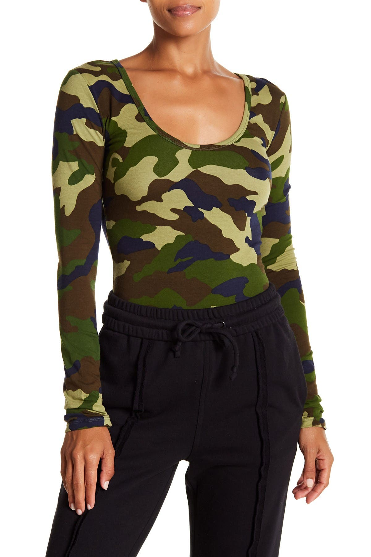 Image of KENDALL AND KYLIE Camo Print Long Sleeve Bodysuit