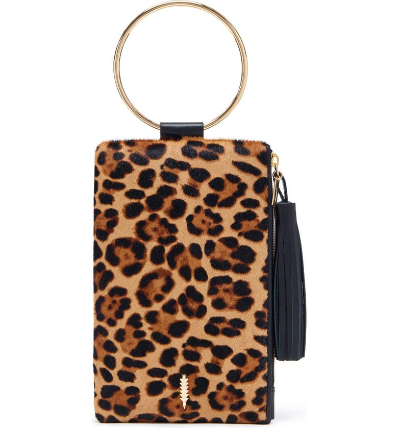THACKER Nolita Genuine Calf Hair & Leather Ring Handle Clutch, Main, color, LEOPARD/ BLACK