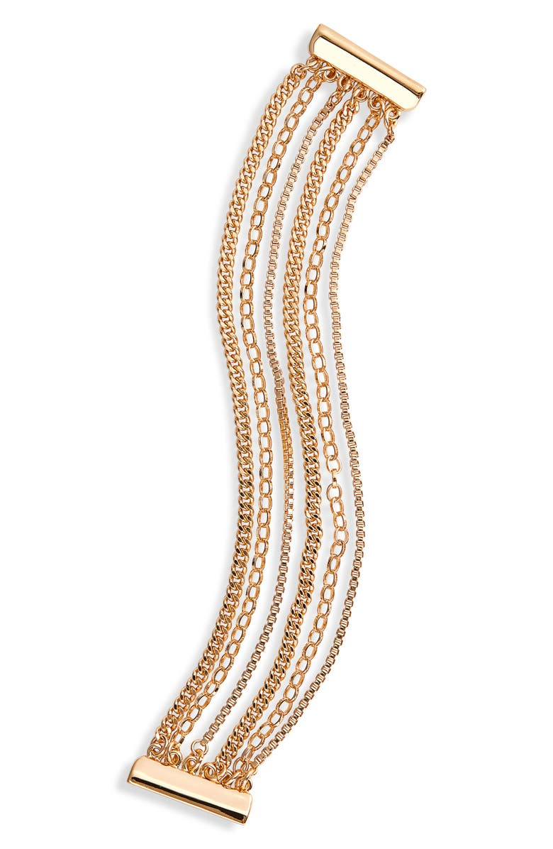 HALOGEN<SUP>®</SUP> Layered Chain Link Bracelet, Main, color, GOLD