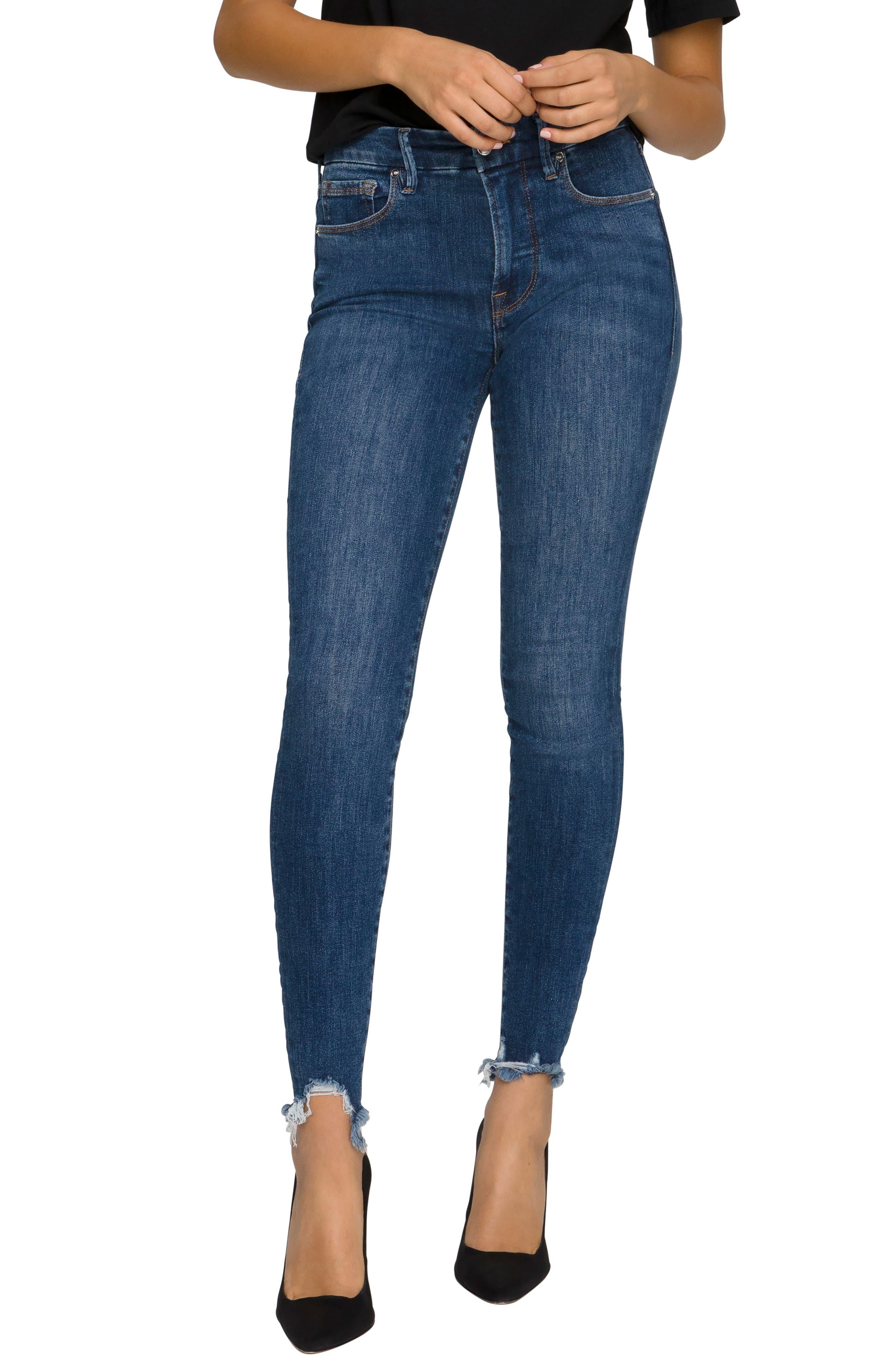 Good Legs Ripped Hem High Waist Skinny Jeans
