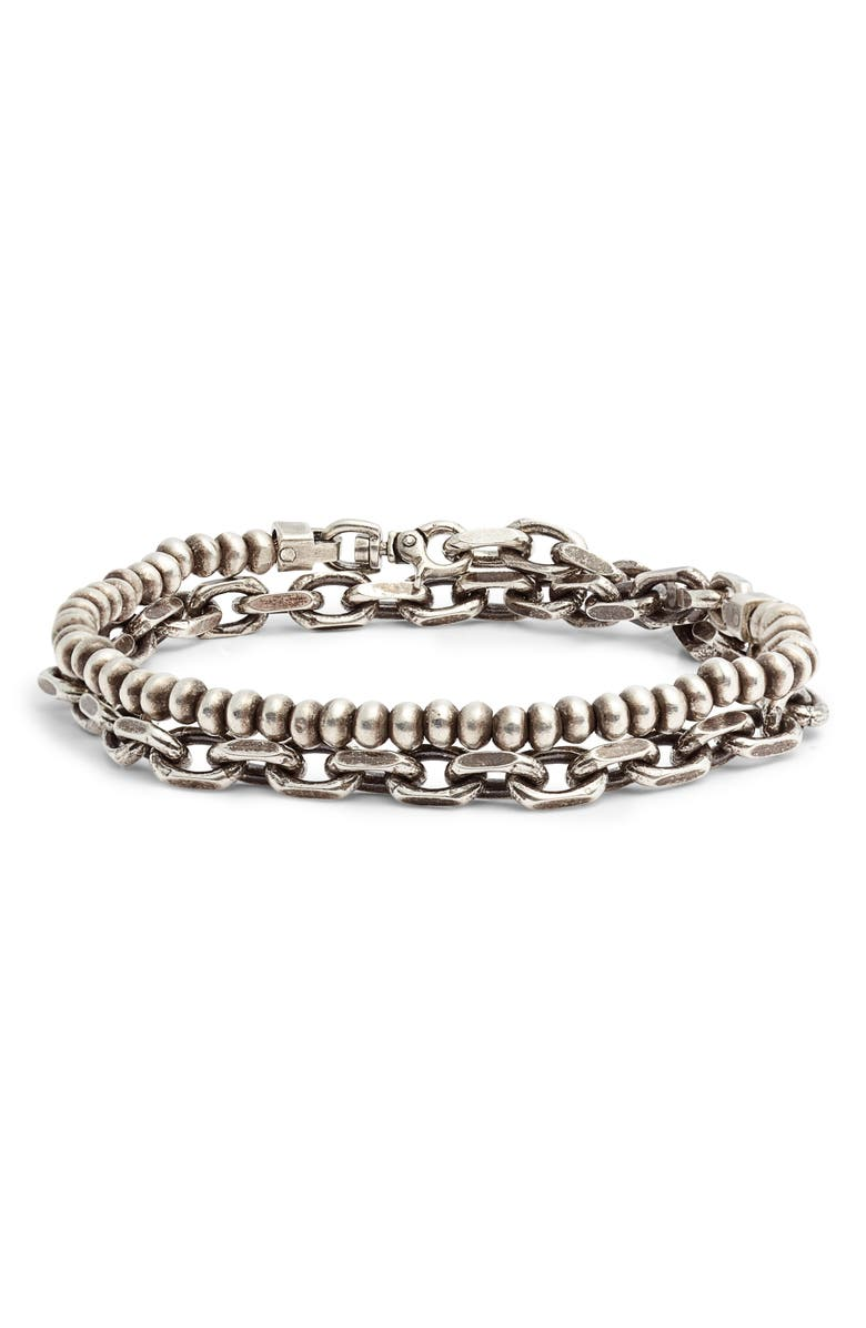 TITLE OF WORK Silver Bead Wrap Bracelet, Main, color, SILVER