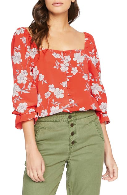 Sanctuary PICNIC FLORAL SQUARE NECK TOP