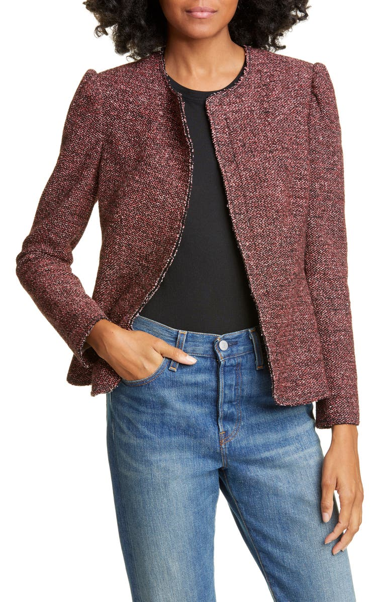 TAILORED BY REBECCA TAYLOR Tweed Knit Jacket, Main, color, SUNSET COMBO