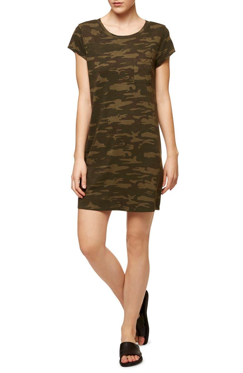 SANCTUARY Camo Print T-Shirt Dress, Main, color, 300