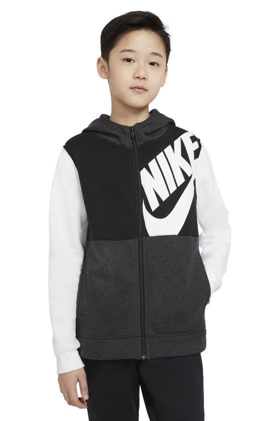 Nike Kids' Sportswear Colorblock Zip Fleece Hoodie (big Boy) In White/ Black Heather