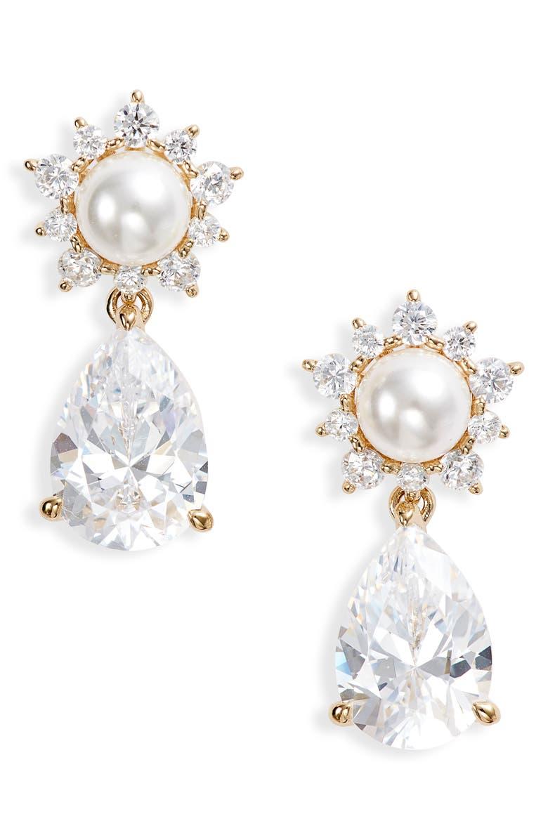 NADRI Delice Drop Earrings, Main, color, SILVER